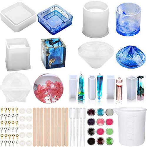 Apsung 68 PCS Resin Silicone Molds Set, Epoxy Casting Art Molds Includes Square, Cylinder, Cube, Round, Diamond, Mixing Cup, Pendant Molds and Wood Sticks for Coaster, Ashtray, Pen Jewelry Holder