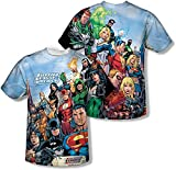 Amacigana DC Comics The League - Camiseta deportiva de tela con parte delantera y trasera de la Liga de la Justicia multicolor L