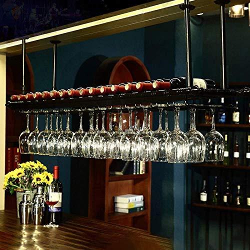 Titular de la Copa Colgante Titular de la Copa de la decoración del Techo Estante de Estilo Vintage Titular de la Copa de Vino de Hierro Colgante 11 tles de Vino y 30 Tazas Vasos