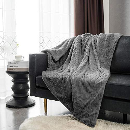 Amosiwallart Mantas para Sofa, Mantas para Cama de Franela Reversible, Mantas Ligeras de 100% Microfibra - Fácil De Limpiar - Extra Suave Cálido -Gris