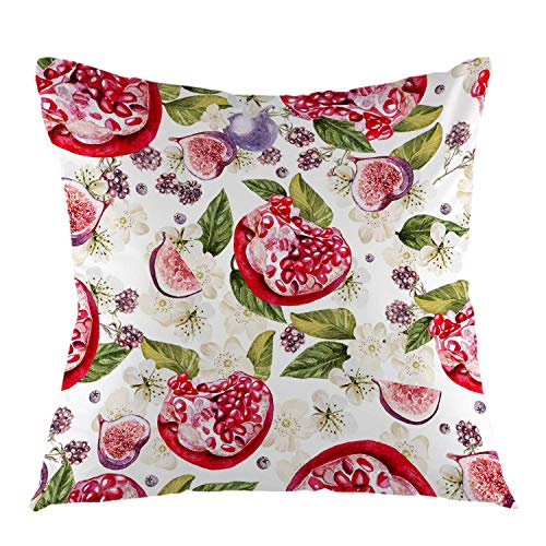 phjyjyeu Pomegranate Fig Leaves and Blackberries Throw Pillow Case Square Cushion Cover for Sofa Couch Bedroom Living Room Dorm Decoration 18 X 18 Inch 18' X 18'(IN)