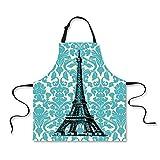 Boyouth Eiffel Tower Delantal, Art Eiffel Tower Pattern impresión Digital Impermeable Babero Delantales con Correas Ajustables para el Cuello para Adultos Mujeres y Hombres