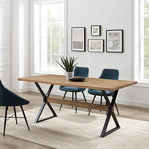 Walker Edison Harrold Modern Farmhouse X Leg Dining Table, 72 Inch, Rustic Oak