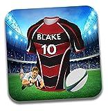 Cadeau personnalisé–Maillot de rugby sur le thème Dessous-de-verre à bière/mat–Cadeau d'anniversaire–Cadeau–Union sportive Oyonnax Couleurs