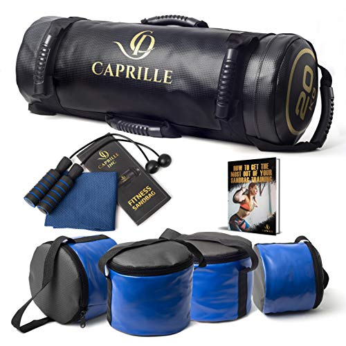 CAPRILLE Workout Sandbag for Fitness With Heavy Duty PVC Design Sandbag Workout Ideal for Power Training Workout Sandbags with Handles and 4 Zipper Filler Bags Holds 45LBS Bonus Cordless Jump Rope