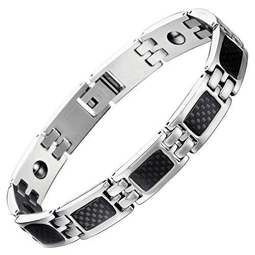 COOLSTEELANDBEYOND Klassischen Edelstahl Magnetisch Energie Armband Herren mit Eingelegten Kohlefaser, Link-Tool zum Entfernen Enthalten