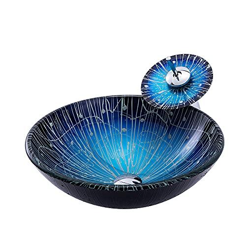 Lavabo de Cristal Azul Lavabo de Vidrio Templado Ronda Lavabo sobre Instalación en Encimera Lavabo sobre para Baño, 420mm*420mm*145mm*12mm,Sink with Faucet