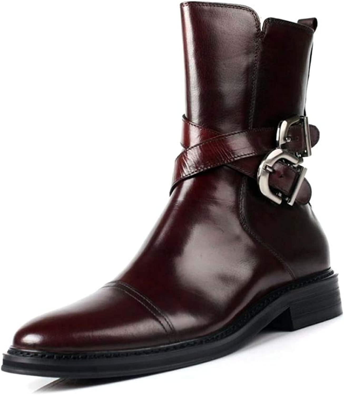 Men Chelsea Boot,Leather England Buckle Zipper Leather Martin Boots High-top Business shoes Oxford shoes