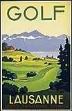 Poster Golf Lausanne Schweiz, Reproduktion, Format 50 x 70