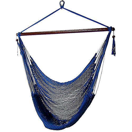 Sunnydaze Hanging Rope Hammock Chair Swing, Extra Large Caribbean, Blue - for Indoor or Outdoor...
