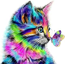 DIY 5D Diamond Painting by Numbers Kits for Adult Kids, Cat Butterfly Embroidery Painting for Home Wall Decor Painting Arts Craft (11.8