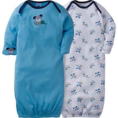 Gerber Baby Boys' 2 Pack Cute Lap Shoulder Gown, Blue, 0-6 Months
