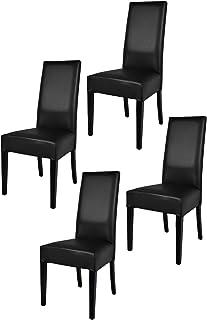 Tommychairs - Set 4 chaises Luisa pour Cuisine, Bar et Salle à Manger, Robuste Structure en Bois de hêtre peindré en Noir,...