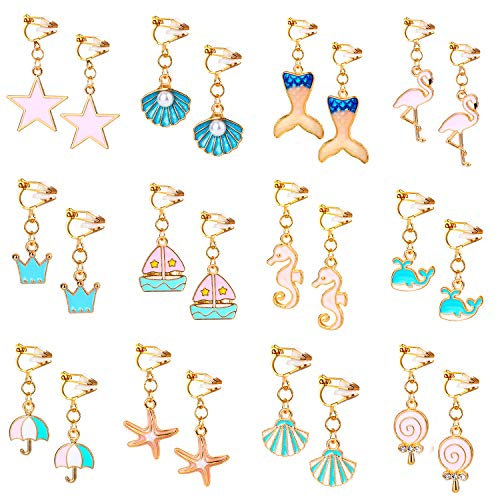 Mannli 12 Pairs Clip on Earrings...