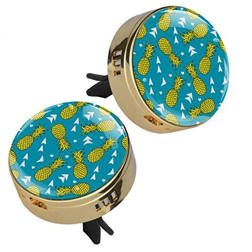 2 medallones con diseño de frutas azules para aromaterapia, difusor de aceites esenciales, cierre magnético, con clip de ventilación, 4 almohadillas de repuesto (dorado)