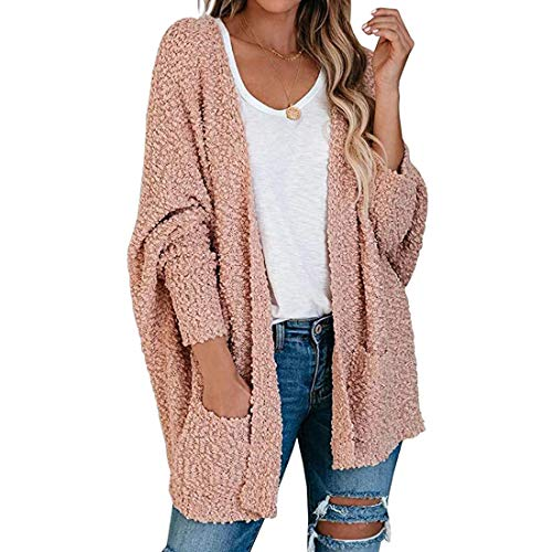 Shujin Damen Langarm Strickjacke Lose Sweater Fuzzy Coat V Ausschnitt Plüschjacke Oversize Strickmantel Strickpullover Warm Cardigan Outerwear mit Taschen, Rosa, Gr. S