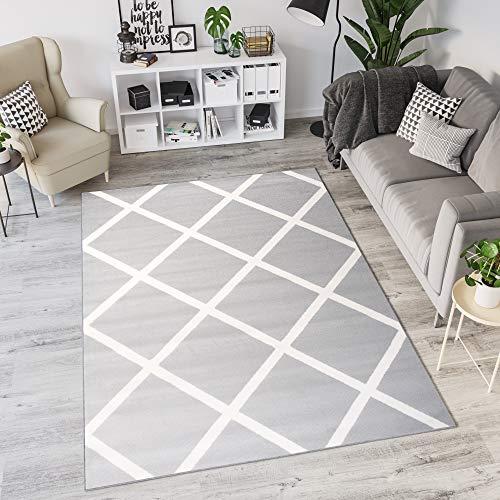 Tapiso Laila Alfombra de Salón Sala Dormitorio Cuarto Juvenil Diseño Moderno Gris Blanco Geométrico Fina 80 x 150 cm