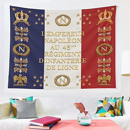 horjeeda Napoleonische Französische 45. Regimentale Flagge-tapisserie Mosaik-stil Hippie Boho Wand-wandteppiche Mandala-stoff-matte Wohnzimmer-dekor 39x59inch Polyester