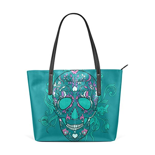 COOSUN Vector Sugar Skull with Ornament PU Leather Shoulder Bag Purse and Handbags Tote Bag for Women