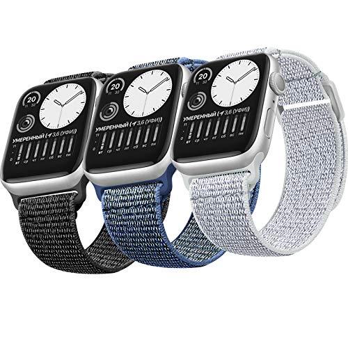 ATOO 3 Pezzi Nylon Cinturino Orologio per Apple Watch 38mm 40mm 42mm 44mm, Leggero Traspirante Cinturino di Ricambio Sportivo per iWatch SE Series 6 5 4 3 2 1(42/44MM)