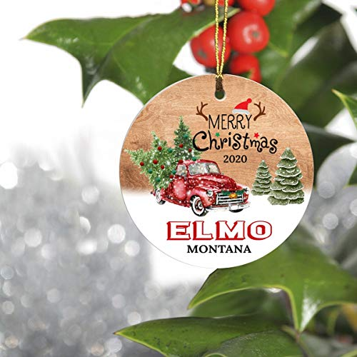 Merry Christmas Tree Decorations Ornaments 2020 - Ornament Hometown Elmo Montana MT State - Keepsake Gift Ideas Ornament Ceramic 3' for Family, Friend and Housewarming