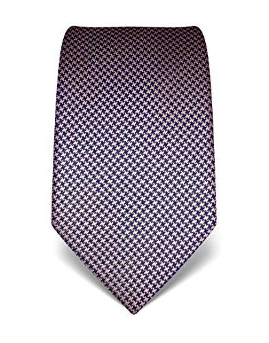 Vincenzo Boretti Herren Krawatte reine Seide Hahnentritt Muster edel Männer-Design zum Hemd mit Anzug für Business Hochzeit 8 cm schmal/breit dunkelblau/rosa