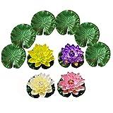 Allwiner Artificial Lotus Espuma de simulación Lotus Hojas de Las Flores de Lirio de Agua Flotante follaje de la charca de Las Decoraciones 10PCS, Piscina Accesorios