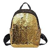 Aspire Schulrucksack Alltagstasche Strandtasche mit Pailletten Glänzender Glitter Goldenen