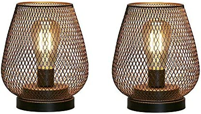 JHY DESIGN Set of 2 Metal Cage LED Lantern Battery Powered Cordless Accent Light with LED Great product image