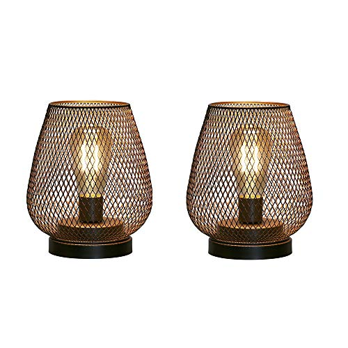 JHY DESIGN Set of 2 Metal Cage LED Lantern Battery Powered Cordless Accent Light with LED Great for Weddings Parties Patio Events for Indoors Outdoors