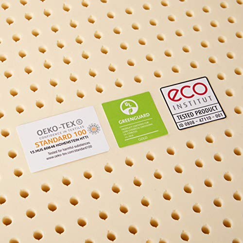 Pure Green 100% Natural Latex Mattress Topper - Medium Firmness - 2 Inch - Queen Size (GOLS Certified Organic)