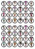 Juego de 48 decoraciones comestibles para magdalenas de LOL Surprise – discos planos para decoración de tartas