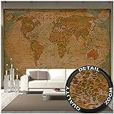 Stampa da parete, mappa del mondo storica, immagine decorativa seppiata, stile usato antic...