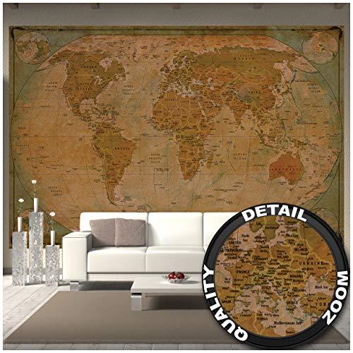 GREAT ART Mural de pared – Mapa Histórico Del Mundo – Globo Vintage Antiguo Mapa Del Mundo Usado Mirar Atlas Mapa Vieja Escuela Foto Papel Pintado Y Tapiz Y Decoración 336 x 238 cm