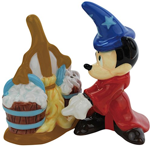 Westland Giftware Fantasia Mickey with Broom Magnetic Ceramic Salt and Pepper Shaker Set, 10.2cm