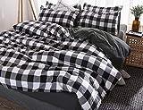 Best to Buy Checkered Duvet Cover Set Queen/Full Bedding Set Black and White Pattern Design (Full/Queen, Checkered)