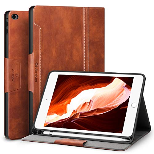 Antbox Case for iPad Mini 5 2019 (5th Generation 7.9 inch)  iPad Mini 4 with Built-in Apple Pencil Holder PU Leather Smart Cover with Auto Sleep Wake Stand Function (Brown)