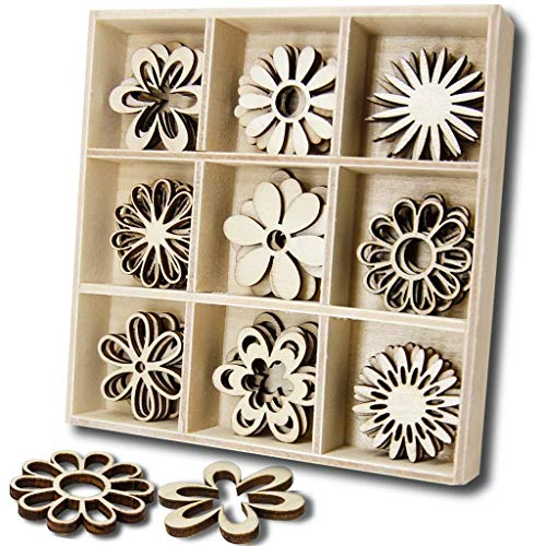 YuQi Wooden Embellishments Laser Cut Blanks Slices 45pcs Flower Shapes Nature Decorations for Kids (Flower)