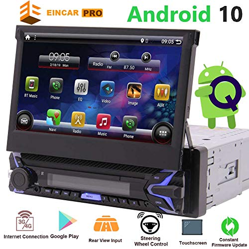 Single Din Autoradio Android Touch Screen 1 Din Bluetooth GPS-Navigationssystem Flip Out Head Unit 7-Zoll-1080P 1G + 32G Video-Bildschirm Spiegel-Unterstützungskamera 4G Wireless-LAN-Fernbedienung