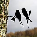 SSLLM Gartenstecker Vögel mit Schraube zum Eindrehen in Holz Outdoor Garten Hinterhof Vintage Deko 4 Metall Vögel Hängedeko Frühlingsdeko Gartendeko für Outdoor Garten Hinterhof (2pcs-A)