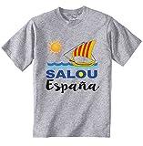 teesquare1st SALOU Spain Camiseta Gris para Hombre de Algodon Size Xxlarge