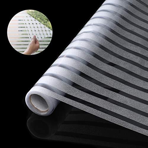 LC&TEAM Streifen Fensterfolie selbsthaftend 90 * 200cm Milchglasfolie Statische Folie Sichtschutzfolie ohne Klebstoff Wiederverwendbar für Wohnzimmer, Büro