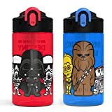 Zak Desi​gns Star Wars Ep4 Kids Water Bottle Set with Reusable Straws and Built in Carrying Loops,Made of Plastic, Leak-Proof Bottle Designs (Darth Vader, Yoda, Chewbacca, etc., 16 oz, BPA-Free,2pc)