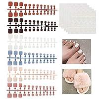 NICENEEDED 144Pcs False Nails Tips Kit False Nails人工爪フルカバーフィンガーネイル5枚両面ネイル接着剤ステッカー(6色)