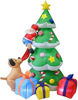 HOBBMS Inflatable Christmas Santa Claus Climbing On Christmas Tree Chased by Dog and Gift Box Decoration, Inflatable Spree Halloween, Lawn Garden Party, Birthday Party Outdoor Activities