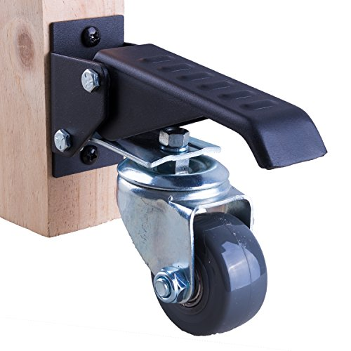 Upgraded Workbench caster kit - 4 Extra Heavy duty retractable casters, 600 lbs. weight capacity, Urethane wheels