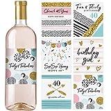 Weinflaschen-Etiketten zum 40. Geburtstag, Set mit 6 wasserdichten Etiketten, Geburtstagsgeschenke für sie, Party-Dekoration, Ideen und Zubehör