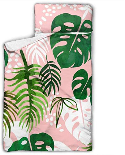 Pink Palm Leaves Kids Toddler Nap Mat with Pillow - Includes Pillow & Fleece Blanket for Boys and Girls Napping at Daycare, Preschool, Or Kindergarten