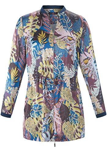 EMILIA LAY Damen Langarmbluse Blusenjacke mit Blätter-Print