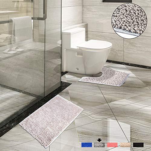 Luxury Bath Mat and Pedestal Sets – Super Absorbent Luxury Bath Mat Sets – Non Slip Chenille Bath Mat and Toilet Set – Machine Washable Bath Mat Sets – Two Piece Bathroom Mat Rug Sets (Grey) Bath Sink Pedestal Foot